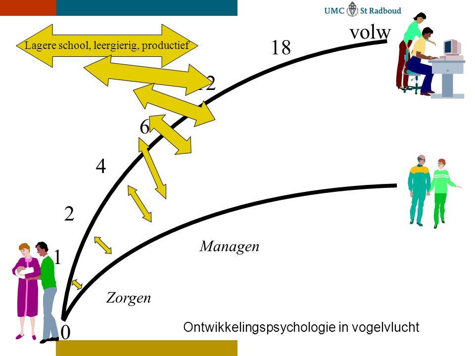 Lagere school, leergierig, productief 0 18 volw 12 6 4 2 1 Ontwikkelingspsychologie in vogelvlucht Managen Zorgen