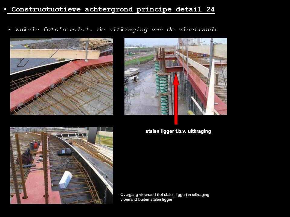 • Constructuctieve achtergrond principe detail 24 Overgang vloerrand (tot stalen ligger) in uitkraging vloerrand buiten stalen ligger • Enkele foto's