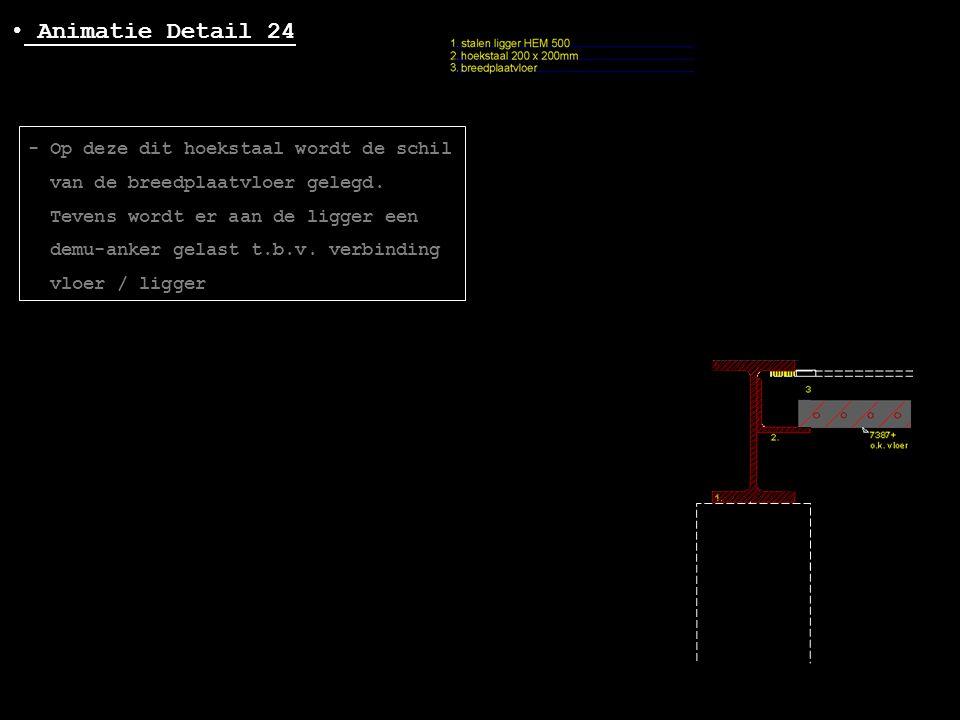 • Animatie Detail 24 - Op deze dit hoekstaal wordt de schil van de breedplaatvloer gelegd. Tevens wordt er aan de ligger een demu-anker gelast t.b.v.