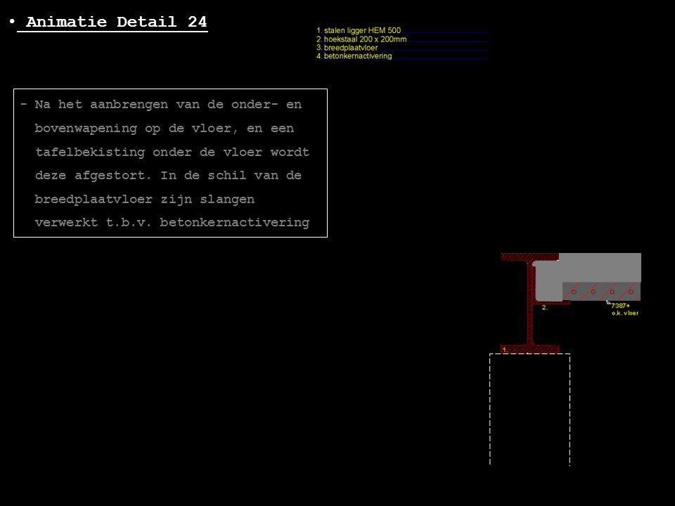• Animatie Detail 24 - Na het aanbrengen van de onder- en bovenwapening op de vloer, en een tafelbekisting onder de vloer wordt deze afgestort. In de