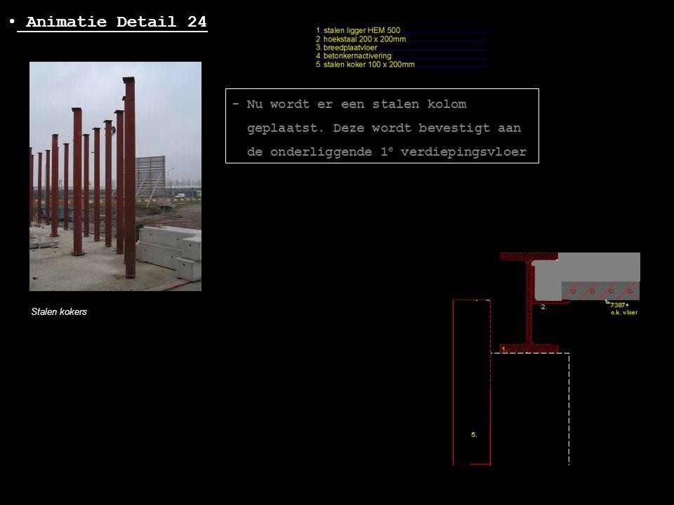 • Animatie Detail 24 Stalen kokers - Nu wordt er een stalen kolom geplaatst. Deze wordt bevestigt aan de onderliggende 1 e verdiepingsvloer