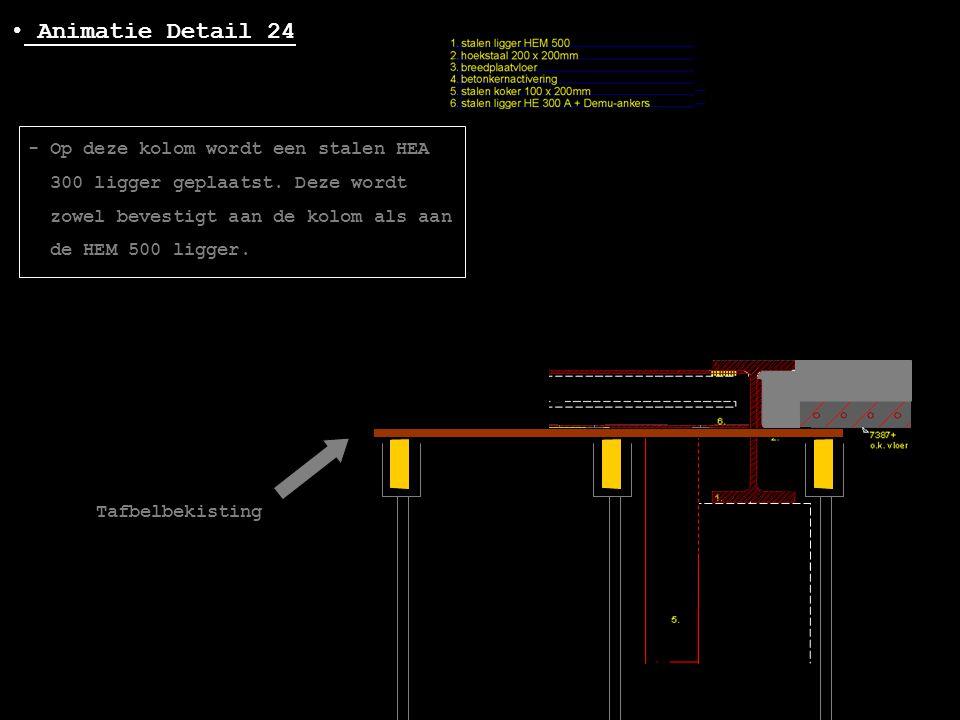 • Animatie Detail 24 - Op deze kolom wordt een stalen HEA 300 ligger geplaatst. Deze wordt zowel bevestigt aan de kolom als aan de HEM 500 ligger. Taf