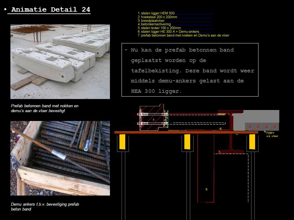 • Animatie Detail 24 Prefab betonnen band met nokken en demu's aan de vloer bevestigt Demu ankers t.b.v. bevestiging prefab beton band - Nu kan de pre