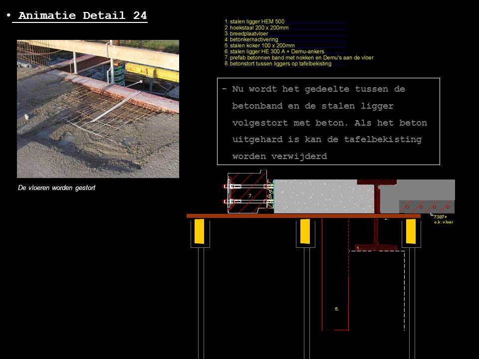 • Animatie Detail 24 De vloeren worden gestort - Nu wordt het gedeelte tussen de betonband en de stalen ligger volgestort met beton. Als het beton uit