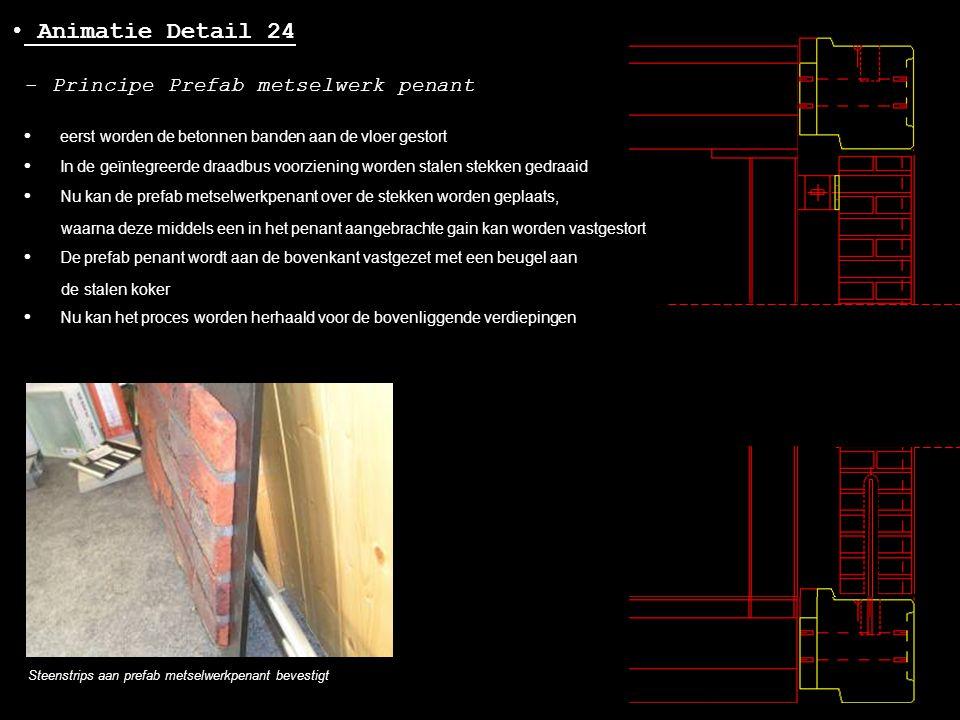 • Animatie Detail 24 - Principe Prefab metselwerk penant • eerst worden de betonnen banden aan de vloer gestort • In de geïntegreerde draadbus voorzie