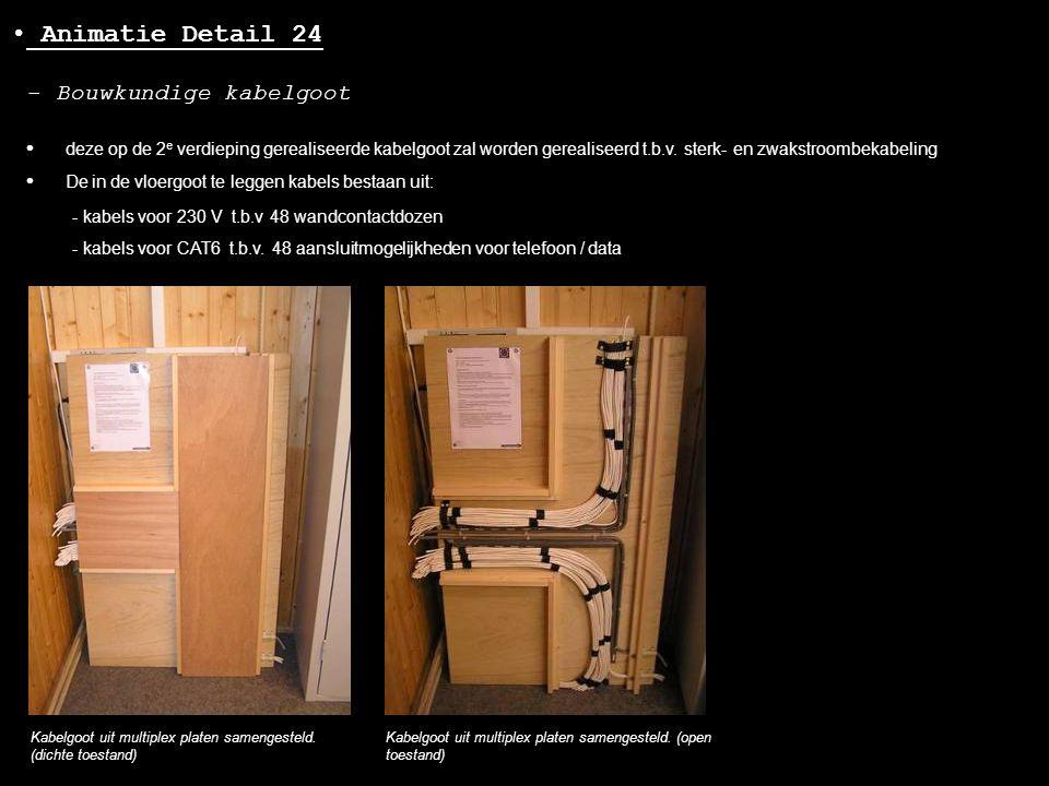 • Animatie Detail 24 - Bouwkundige kabelgoot Kabelgoot uit multiplex platen samengesteld. (dichte toestand) Kabelgoot uit multiplex platen samengestel