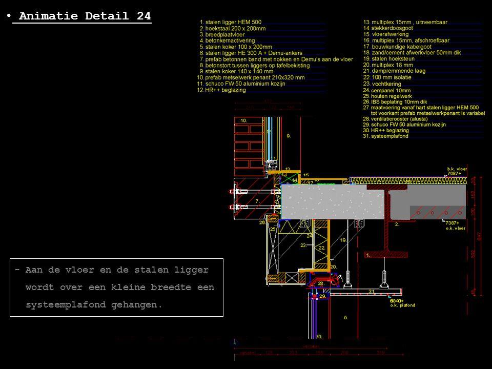 • Animatie Detail 24 - Aan de vloer en de stalen ligger wordt over een kleine breedte een systeemplafond gehangen.