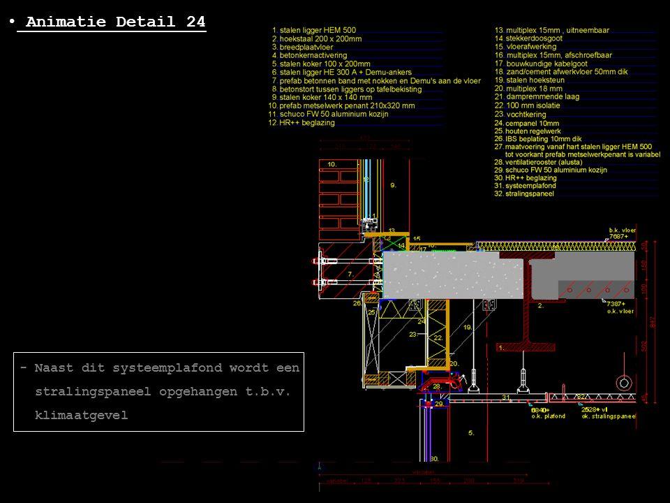 • Animatie Detail 24 - Naast dit systeemplafond wordt een stralingspaneel opgehangen t.b.v. klimaatgevel