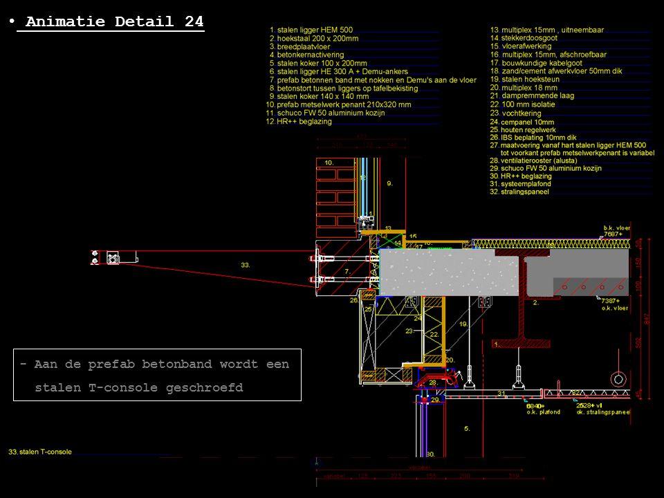 • Animatie Detail 24 - Aan de prefab betonband wordt een stalen T-console geschroefd