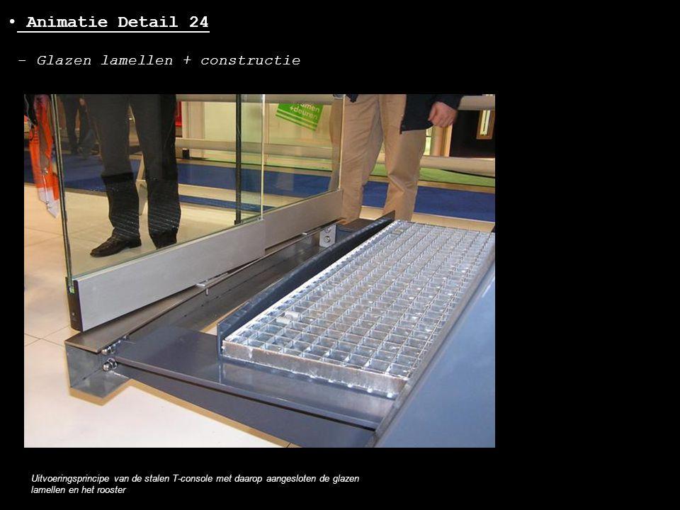 • Animatie Detail 24 - Glazen lamellen + constructie Uitvoeringsprincipe van de stalen T-console met daarop aangesloten de glazen lamellen en het roos