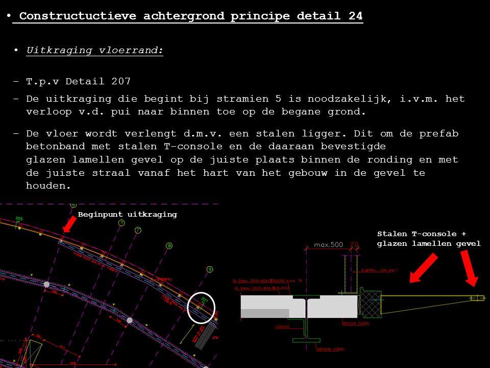 - T.p.v Detail 207 • Constructuctieve achtergrond principe detail 24 - De uitkraging die begint bij stramien 5 is noodzakelijk, i.v.m. het verloop v.d