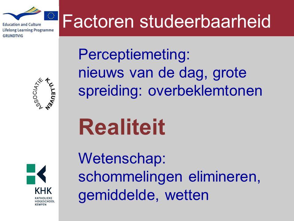 Factoren studeerbaarheid Perceptiemeting: nieuws van de dag, grote spreiding: overbeklemtonen Realiteit Wetenschap: schommelingen elimineren, gemiddel