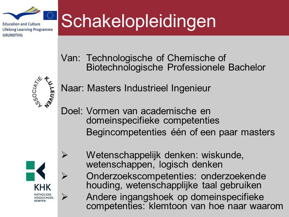 Schakelopleidingen Van: Technologische of Chemische of Biotechnologische Professionele Bachelor Naar: Masters Industrieel Ingenieur Doel: Vormen van a