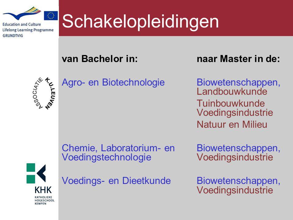 Schakelopleidingen van Bachelor in:naar Master in de: Agro- en BiotechnologieBiowetenschappen, Landbouwkunde Tuinbouwkunde Voedingsindustrie Natuur en
