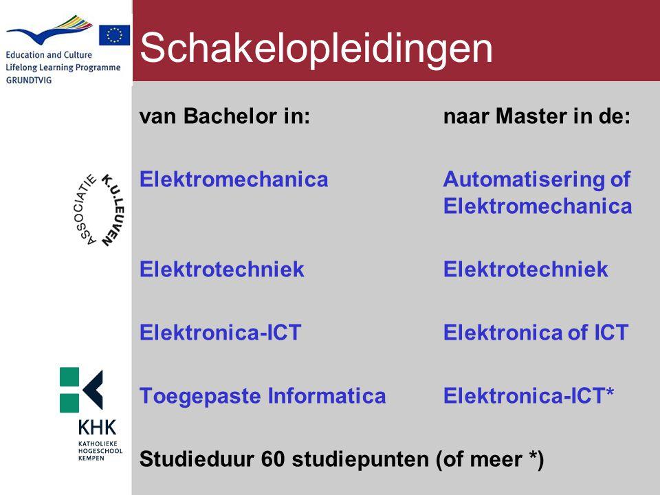 Schakelopleidingen van Bachelor in:naar Master in de: Elektromechanica Automatisering of Elektromechanica Elektrotechniek Elektronica-ICTElektronica o
