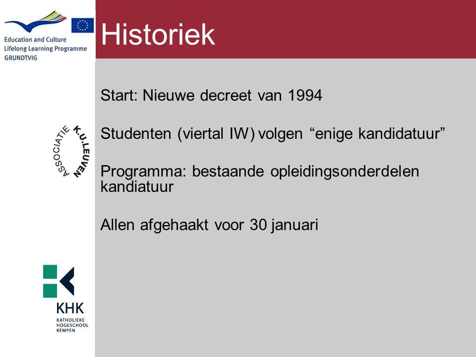 """Historiek Start: Nieuwe decreet van 1994 Studenten (viertal IW) volgen """"enige kandidatuur"""" Programma: bestaande opleidingsonderdelen kandiatuur Allen"""