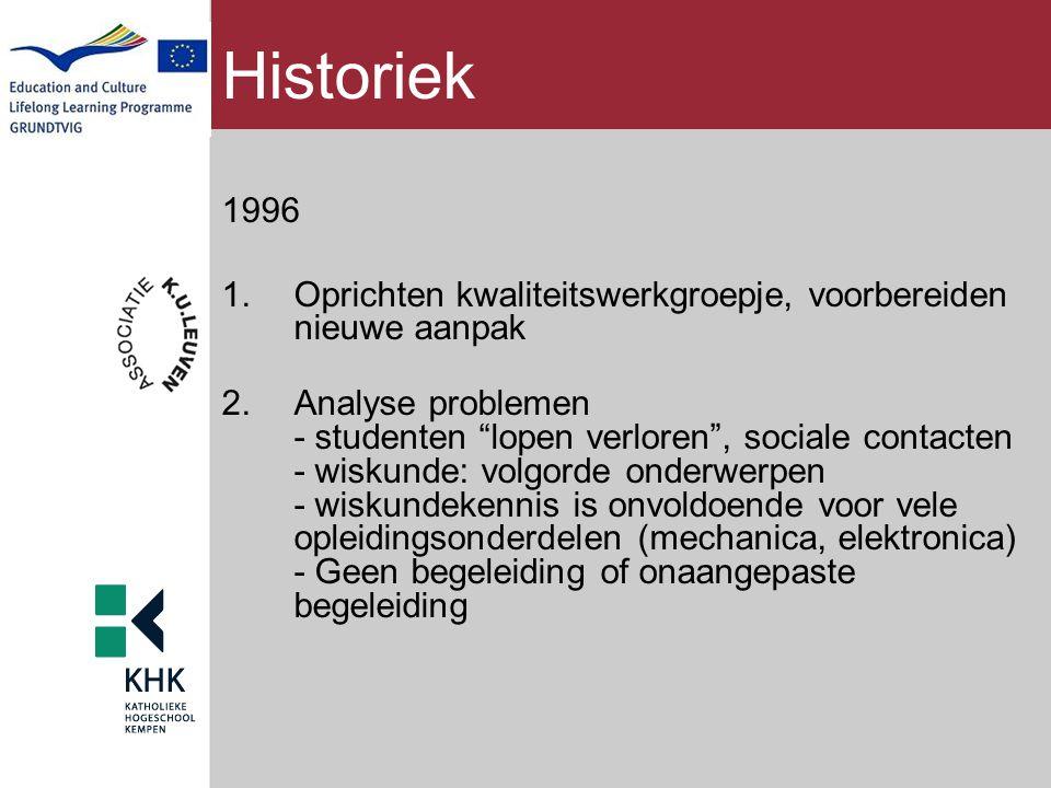 """Historiek 1996 1.Oprichten kwaliteitswerkgroepje, voorbereiden nieuwe aanpak 2.Analyse problemen - studenten """"lopen verloren"""", sociale contacten - wis"""