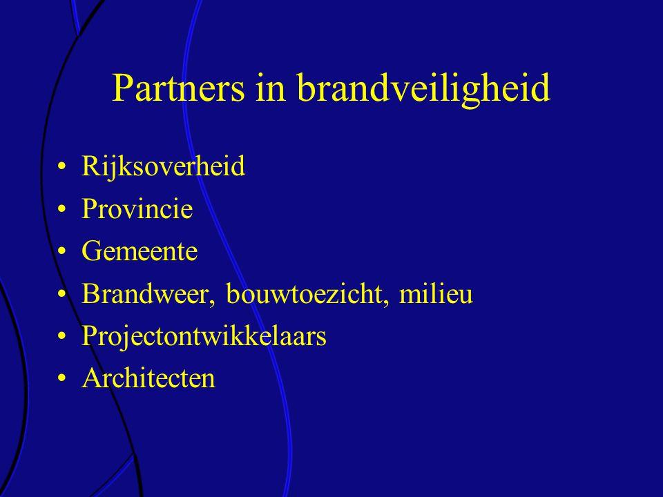 Partners in brandveiligheid •Rijksoverheid •Provincie •Gemeente •Brandweer, bouwtoezicht, milieu •Projectontwikkelaars •Architecten