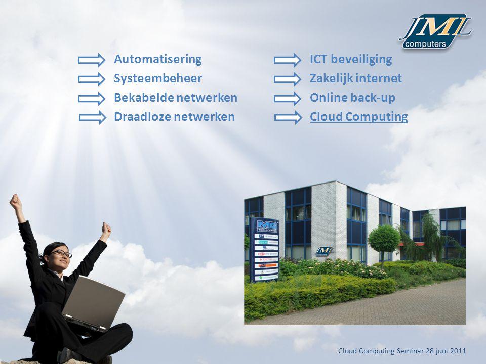Automatisering Systeembeheer Bekabelde netwerken Draadloze netwerken ICT beveiliging Zakelijk internet Online back-up Cloud Computing
