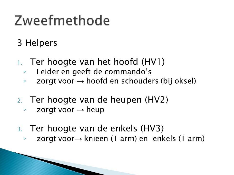3 Helpers 1. Ter hoogte van het hoofd (HV1) ◦ Leider en geeft de commando's ◦ zorgt voor → hoofd en schouders (bij oksel) 2. Ter hoogte van de heupen