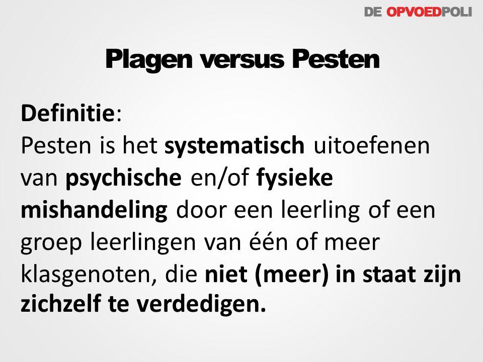Definitie: Pesten is het systematisch uitoefenen van psychische en/of fysieke mishandeling door een leerling of een groep leerlingen van één of meer k