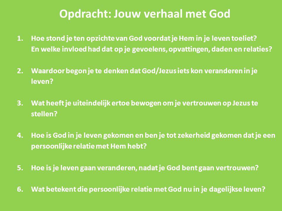 Opdracht: Jouw verhaal met God 1.Hoe stond je ten opzichte van God voordat je Hem in je leven toeliet? En welke invloed had dat op je gevoelens, opvat