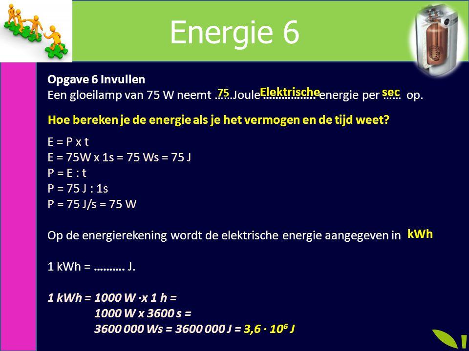 Energie 6 Opgave 6 Invullen Een gloeilamp van 75 W neemt ……Joule ……………..