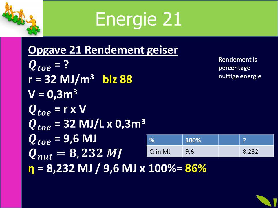 Energie 21 %100%? Q in MJ9,68.232 Rendement is percentage nuttige energie