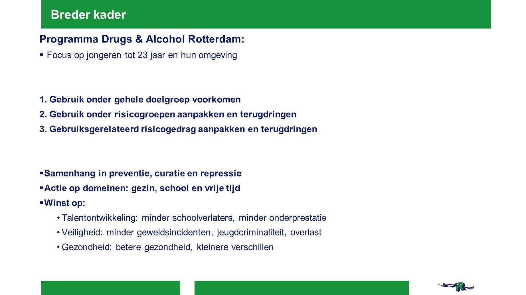 Breder kader Programma Drugs & Alcohol Rotterdam:  Focus op jongeren tot 23 jaar en hun omgeving 1. Gebruik onder gehele doelgroep voorkomen 2. Gebru