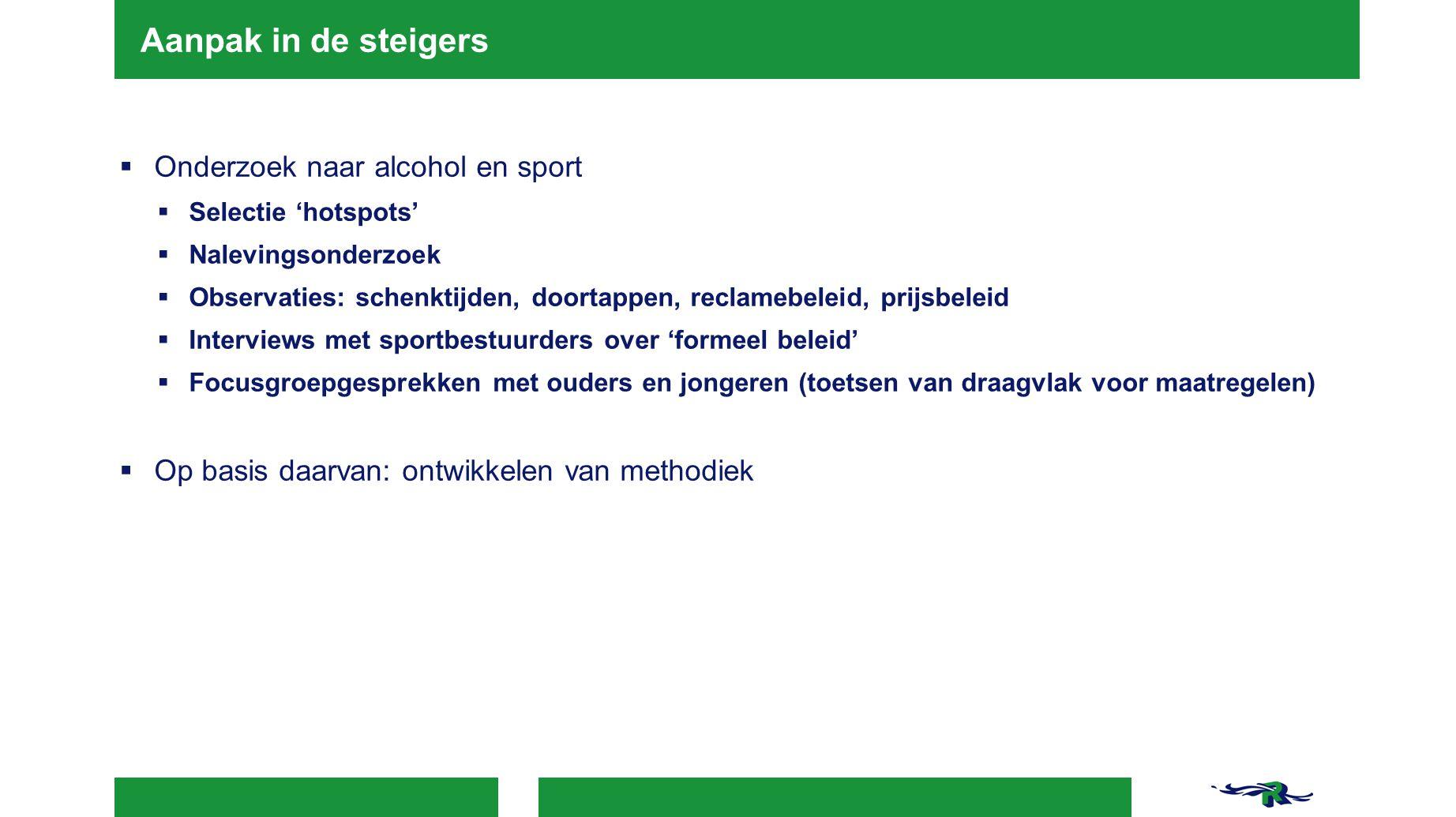 Aanpak in de steigers  Onderzoek naar alcohol en sport  Selectie 'hotspots'  Nalevingsonderzoek  Observaties: schenktijden, doortappen, reclamebel