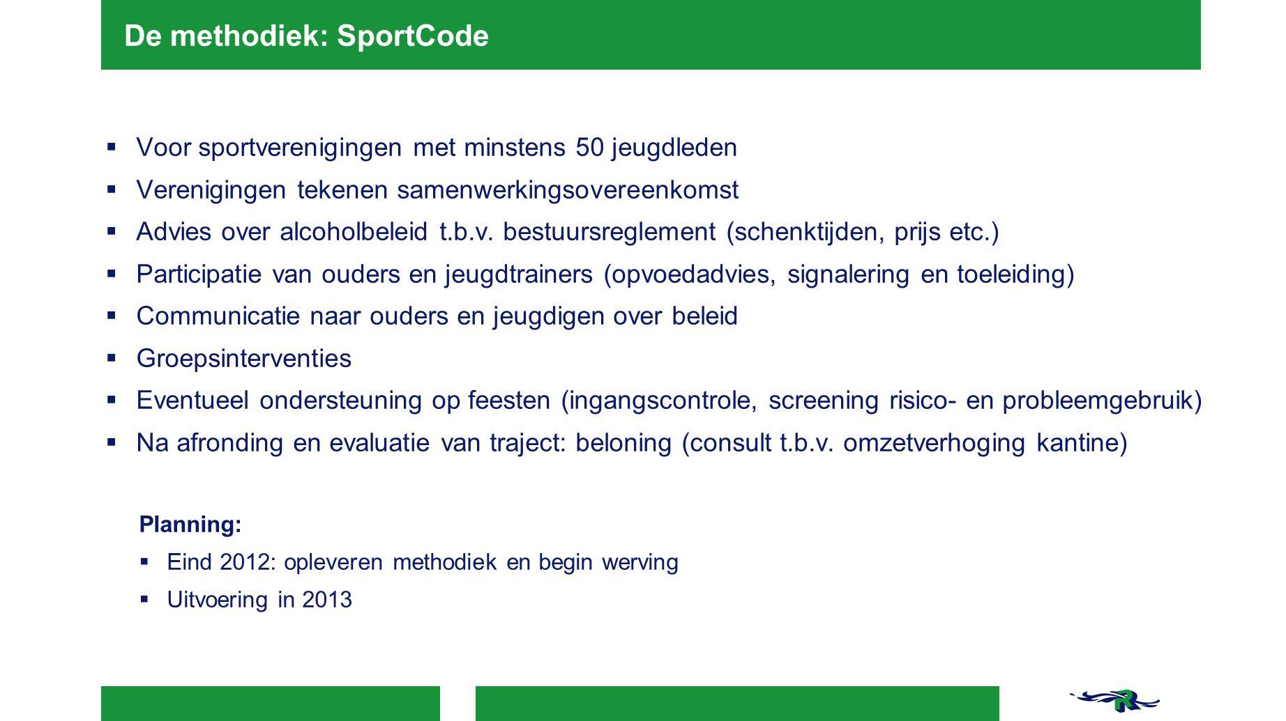 De methodiek: SportCode  Voor sportverenigingen met minstens 50 jeugdleden  Verenigingen tekenen samenwerkingsovereenkomst  Advies over alcoholbele