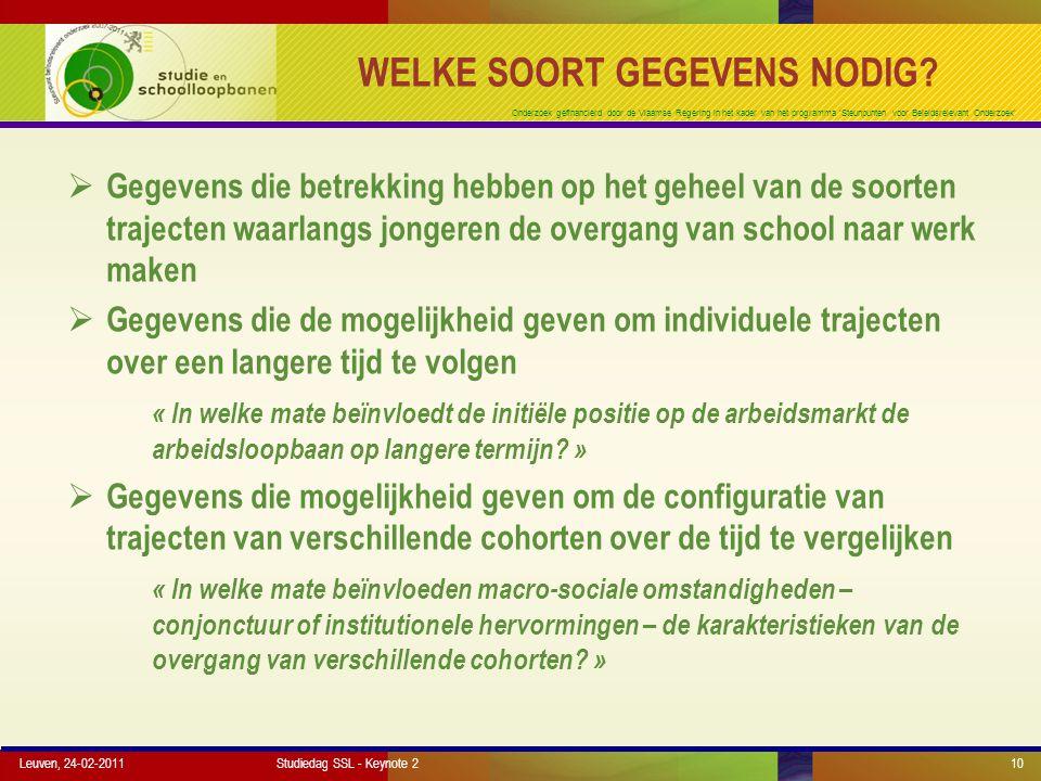 Onderzoek gefinancierd door de Vlaamse Regering in het kader van het programma 'Steunpunten voor Beleidsrelevant Onderzoek' Leuven, 24-02-201110 WELKE SOORT GEGEVENS NODIG.