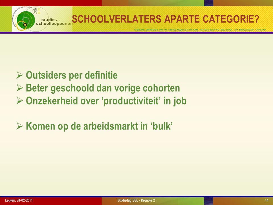 Onderzoek gefinancierd door de Vlaamse Regering in het kader van het programma 'Steunpunten voor Beleidsrelevant Onderzoek' SCHOOLVERLATERS APARTE CATEGORIE.