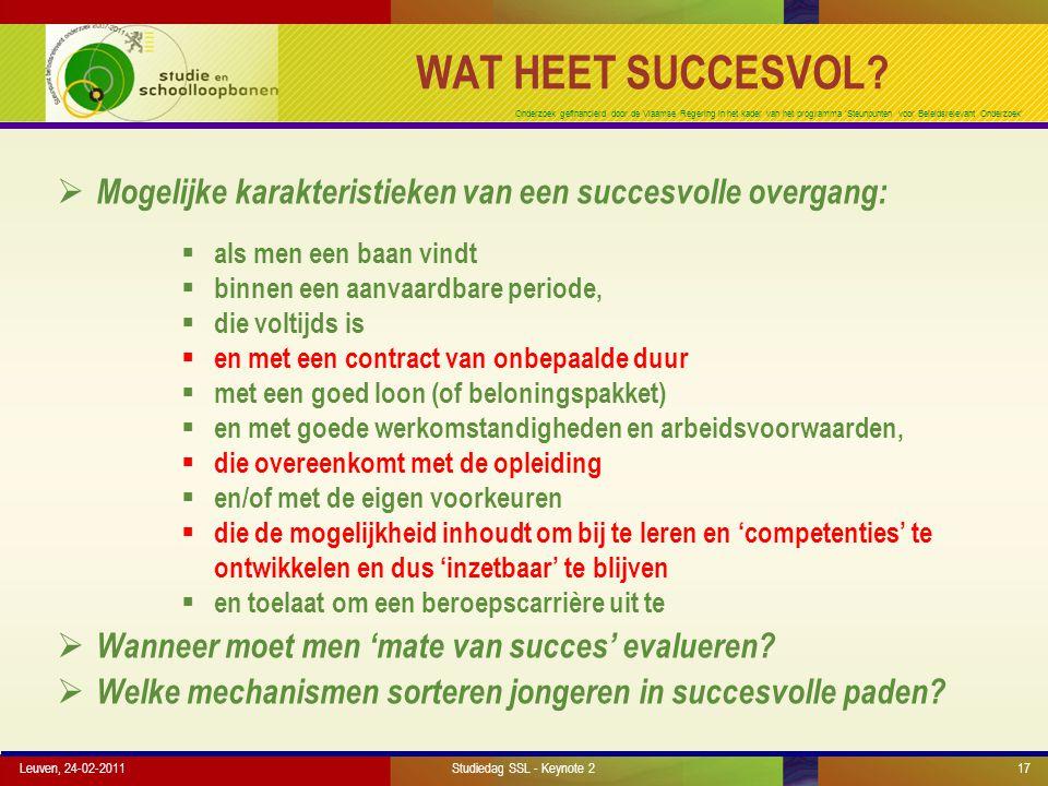 Onderzoek gefinancierd door de Vlaamse Regering in het kader van het programma 'Steunpunten voor Beleidsrelevant Onderzoek' WAT HEET SUCCESVOL.