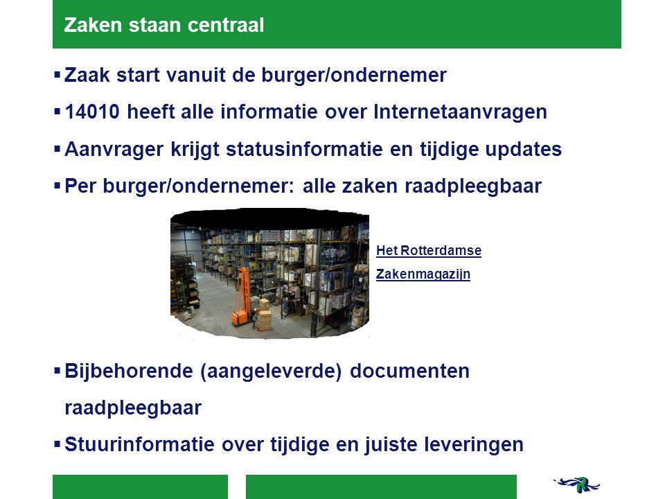 Zaken staan centraal  Zaak start vanuit de burger/ondernemer  14010 heeft alle informatie over Internetaanvragen  Aanvrager krijgt statusinformatie