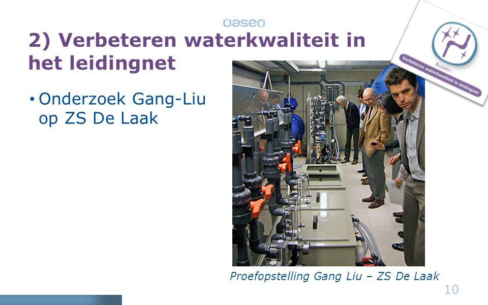 2) Verbeteren waterkwaliteit in het leidingnet • Onderzoek Gang-Liu op ZS De Laak 10 Proefopstelling Gang Liu – ZS De Laak