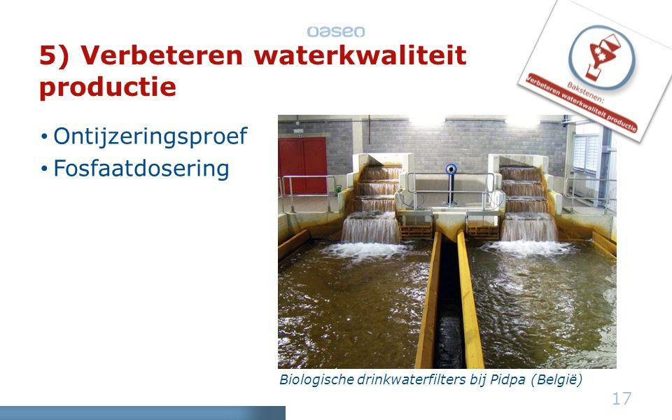 5) Verbeteren waterkwaliteit productie • Ontijzeringsproef • Fosfaatdosering 17 Biologische drinkwaterfilters bij Pidpa (België)