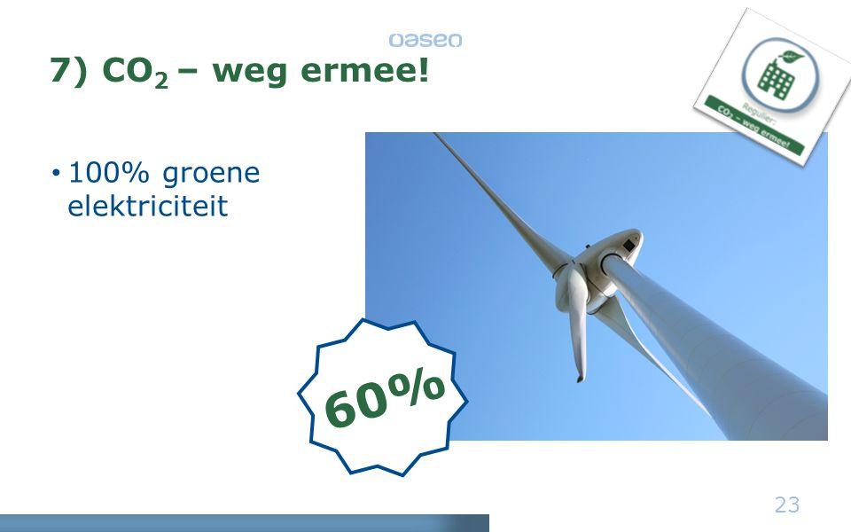7) CO 2 – weg ermee! • 100% groene elektriciteit 23 60%