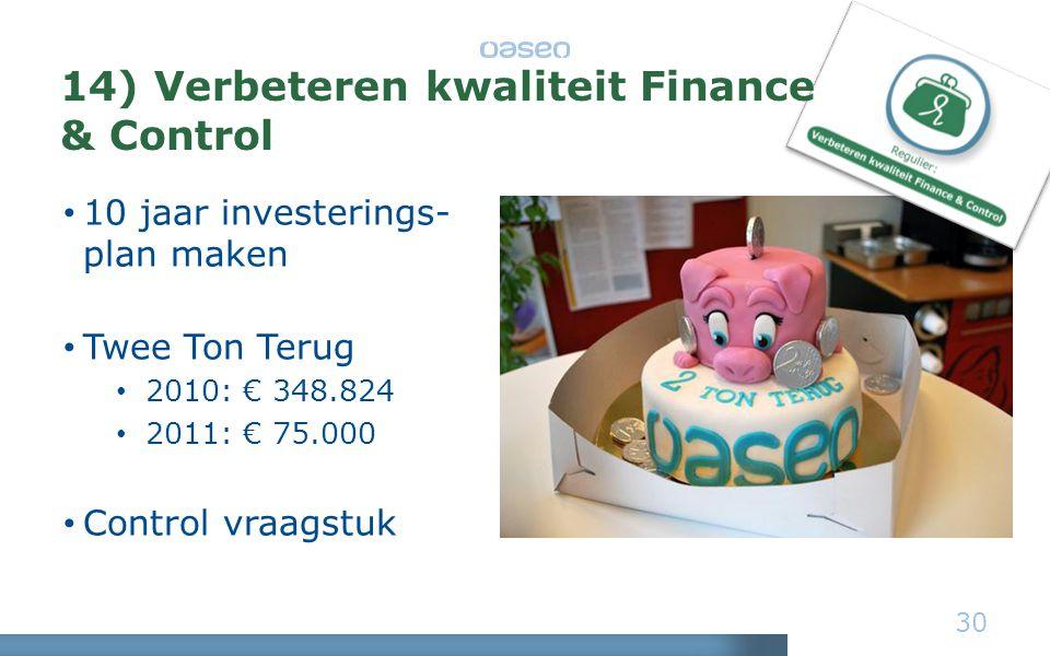 30 • 10 jaar investerings- plan maken • Twee Ton Terug • 2010: € 348.824 • 2011: € 75.000 • Control vraagstuk 14) Verbeteren kwaliteit Finance & Control