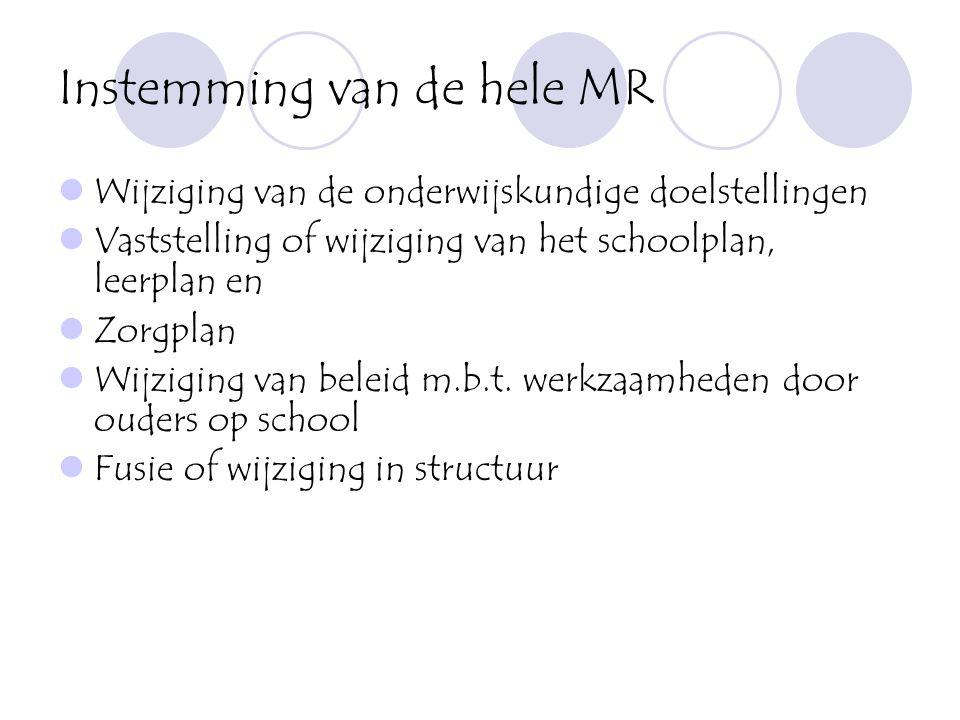 Instemming van de hele MR  Wijziging van de onderwijskundige doelstellingen  Vaststelling of wijziging van het schoolplan, leerplan en  Zorgplan 