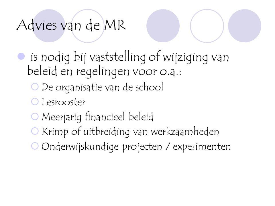 Advies van de MR  is nodig bij vaststelling of wijziging van beleid en regelingen voor o.a.:  De organisatie van de school  Lesrooster  Meerjarig