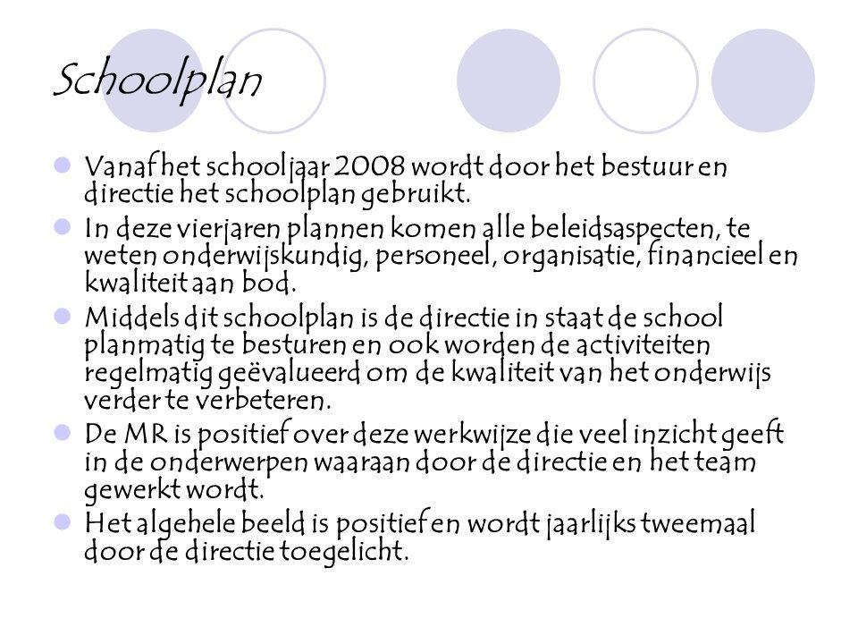 Schoolplan  Vanaf het schooljaar 2008 wordt door het bestuur en directie het schoolplan gebruikt.  In deze vierjaren plannen komen alle beleidsaspec