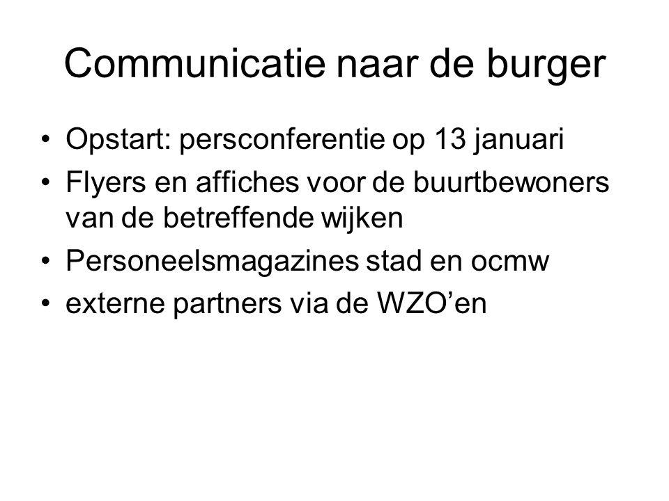 Communicatie naar de burger •Opstart: persconferentie op 13 januari •Flyers en affiches voor de buurtbewoners van de betreffende wijken •Personeelsmagazines stad en ocmw •externe partners via de WZO'en