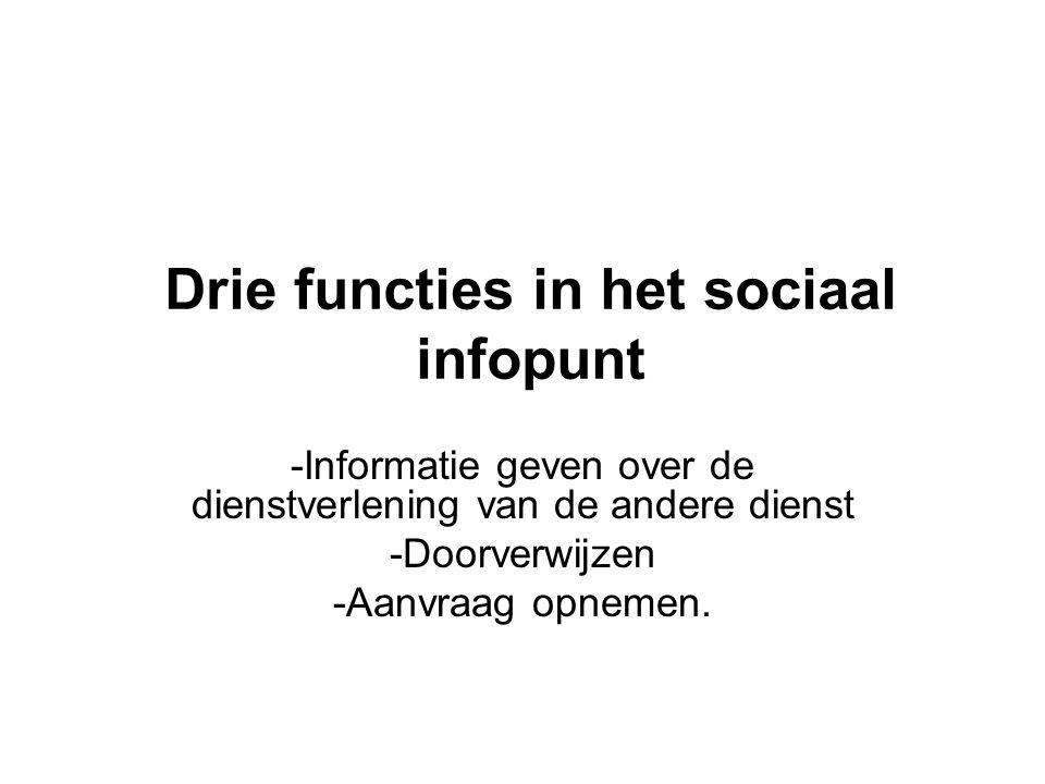 Drie functies in het sociaal infopunt -Informatie geven over de dienstverlening van de andere dienst -Doorverwijzen -Aanvraag opnemen.
