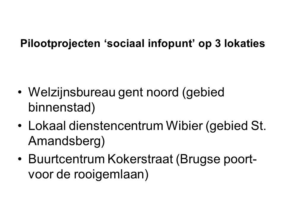 Pilootprojecten 'sociaal infopunt' op 3 lokaties •Welzijnsbureau gent noord (gebied binnenstad) •Lokaal dienstencentrum Wibier (gebied St.