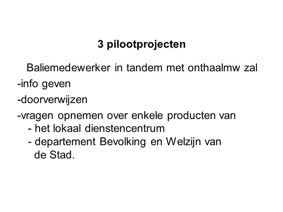 3 pilootprojecten Baliemedewerker in tandem met onthaalmw zal -info geven -doorverwijzen -vragen opnemen over enkele producten van - het lokaal dienstencentrum - departement Bevolking en Welzijn van de Stad.