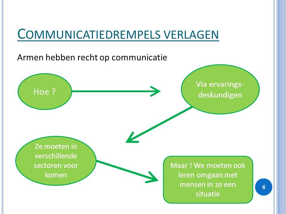 C OMMUNICATIEDREMPELS VERLAGEN Armen hebben recht op communicatie Hoe ? Via ervarings- deskundigen Ze moeten in verschillende sectoren voor komen Maar