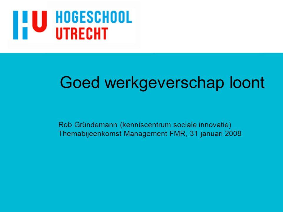 Goed werkgeverschap loont Rob Gründemann (kenniscentrum sociale innovatie) Themabijeenkomst Management FMR, 31 januari 2008