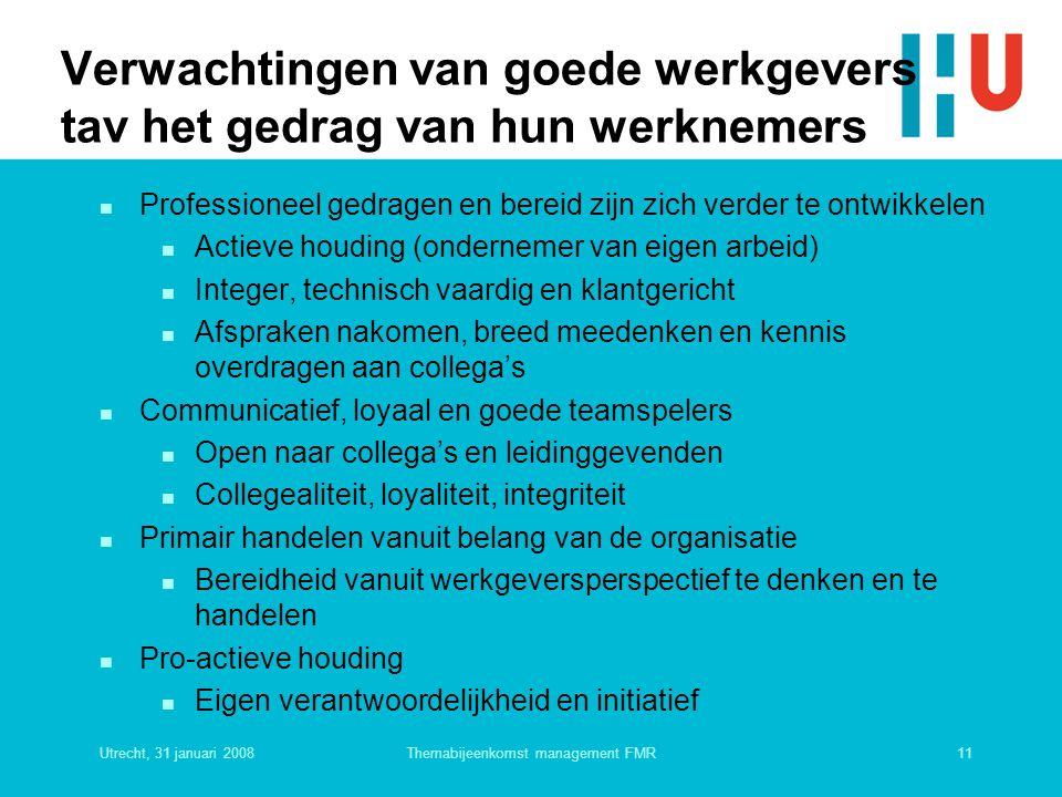 Utrecht, 31 januari 200811Themabijeenkomst management FMR Verwachtingen van goede werkgevers tav het gedrag van hun werknemers n Professioneel gedrage