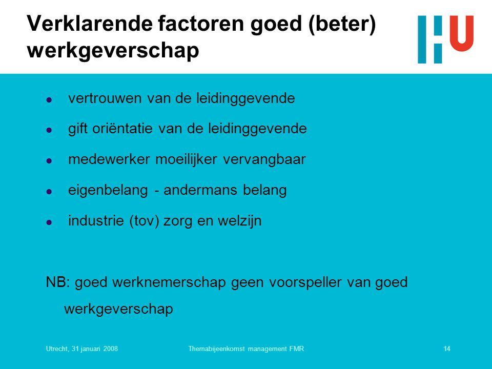 Utrecht, 31 januari 200814Themabijeenkomst management FMR Verklarende factoren goed (beter) werkgeverschap  vertrouwen van de leidinggevende  gift o